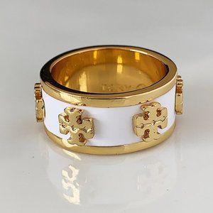 Tory Burch white logo gold ring